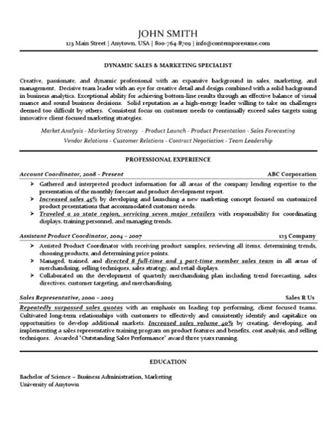 Marketing Specialist Resume by Sales Marketing Specialist Resume Use Of Lines Bold