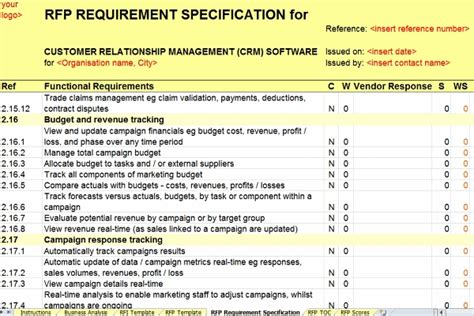 rfp requirements template rfp tracker tolg jcmanagement co