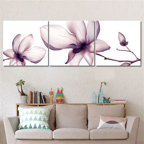 home decor wall painting flower canvas painting cuadros unframed 3 pieces flowers trees modular pictures posters