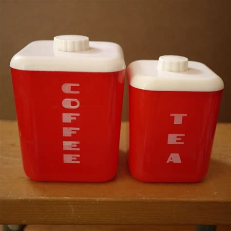 plastic kitchen canisters vintage lustro ware red plastic coffee tea kitchen canisters w lids 111 110 ebay