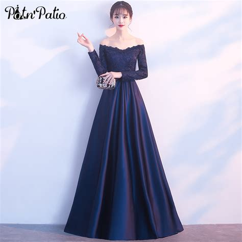 elegant long sleeve prom dresses  navy blue satin