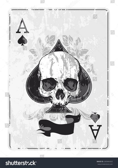 ace of spades with skull stock vector illustration