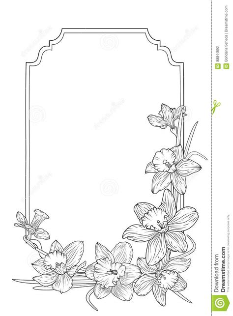 Vector Floral Rectangular Frame With Roses Cartoon Vector