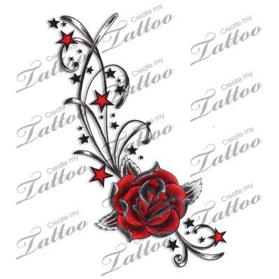 roses with stars tattoos marketplace swirls 4935