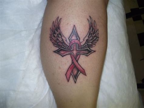 breast cancer ribbon and cross tattoo cross tattoos with wings cross with wings and the