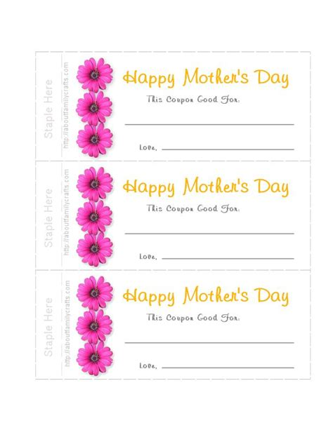 How To Make Mother S Day Printable Coupons S Day Coupon Template