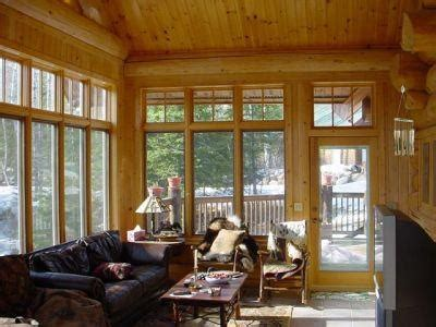 Cedar Sunroom The Three Season Porch Cedar Logs Walls Marvin Windows