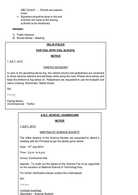 notice writing format what is format of notice writing in for class 10