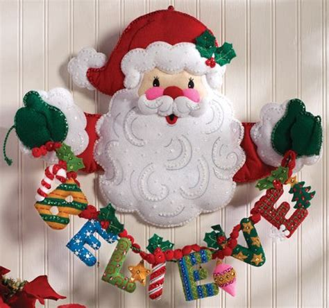 bucilla felt applique tree skirt kit santa details about bucilla believe in santa felt