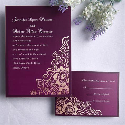 purple wedding invitations personalized retro exquisite purple floral wedding card