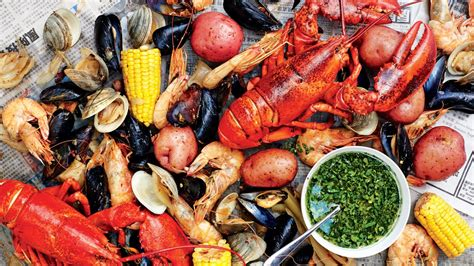Seafood shellfish boil with spicy green dipping sauce recipe bon