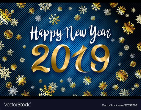 gold happy  year  text design greeting vector image