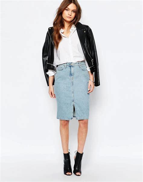 new look new look split front denim midi skirt at asos