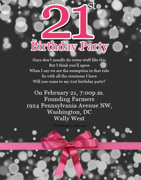 21st birthday invitation card templates free 21st birthday invitation wording wordings and messages