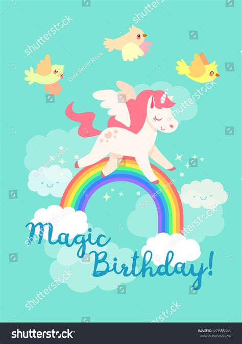 unicorn coloring book an coloring book with relaxing and beautiful coloring pages unicorn gifts for books fairytale happy birthday card flying unicorn stock vector