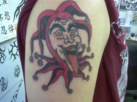 joker tattoo on arm upper arm red joker tattoos inofashionstyle com