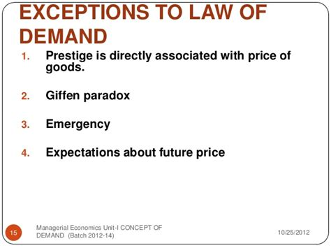 the law of diminishing expectations concept of demand supply