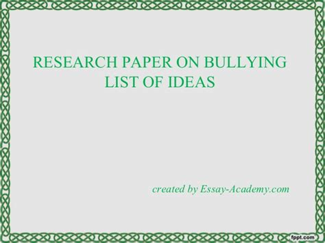 thesis about bullying slideshare research paper on bullying list of ideas