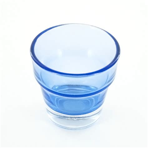 Glass Candle Base Thick Flower Pot Blue Glass Candle Holder Heavy Base