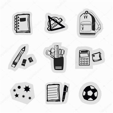 imagenes en blanco y negro de utiles escolares inkoustově čern 233 ručně kreslenou školn 237 potřeby a