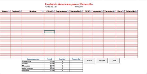 planilla de nomina de pago aplicaci 243 n de plantilla sistemas de informaci 243 n