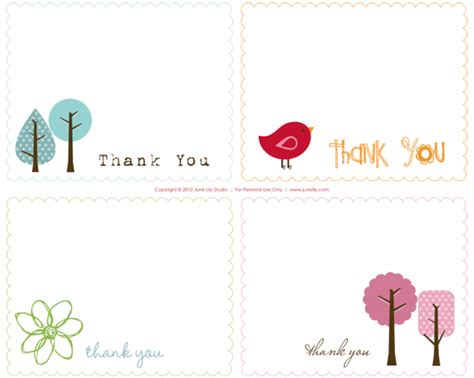 mini thank you cards template free printable thank you notes june design