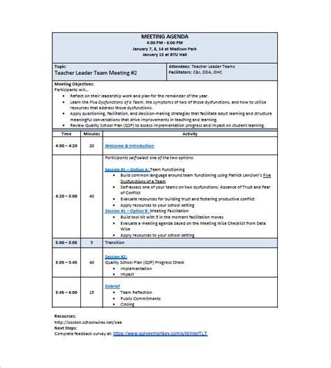 school agenda template 10 school agenda templates free sle exle format