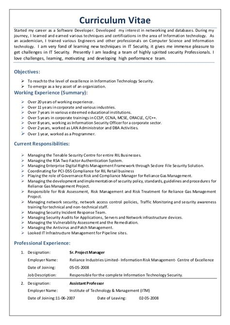 cv exle for security cv of it security professional