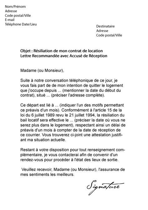 Lettre De Resiliation Free Cause Demenagement Lettre De R 233 Siliation Bail 1 Mois De Pr 233 Avis Mod 232 Le De Lettre