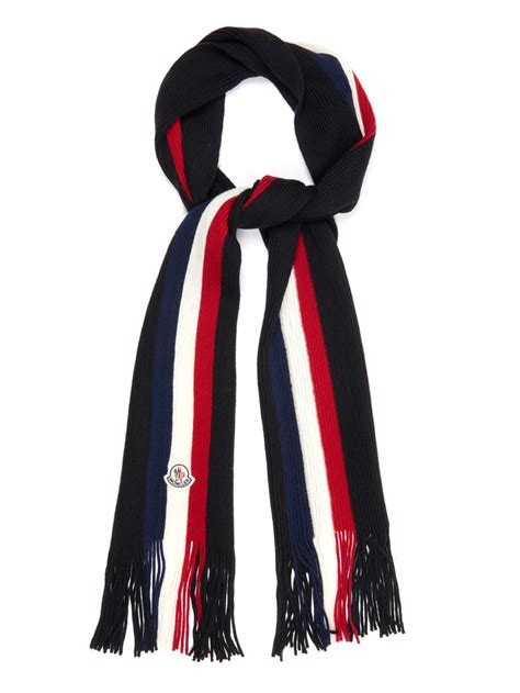 moncler striped wool scarf in black for lyst