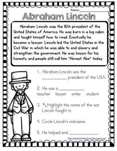 abraham lincoln biography first grade george washington reading comprehension popflyboys