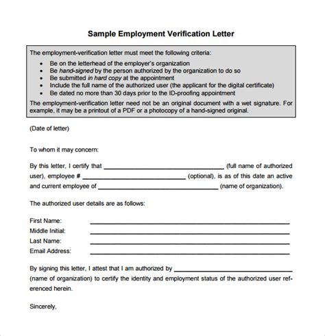 Employment Verification Letter Pdf Sle Proof Of Employment Letter 9 Free Documents In Pdf Word