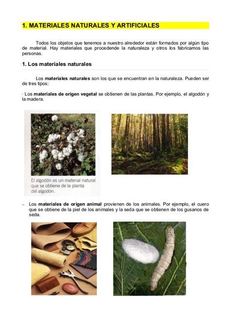 imagenes de objetos naturales y artificiales materiales naturales y artificiales 1