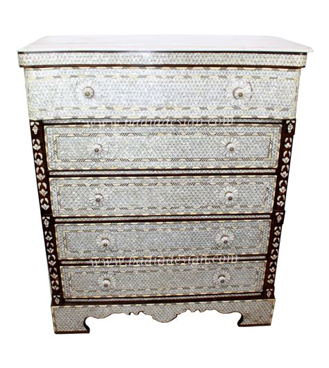Of Pearl Dresser of pearl dresser with white marble top from