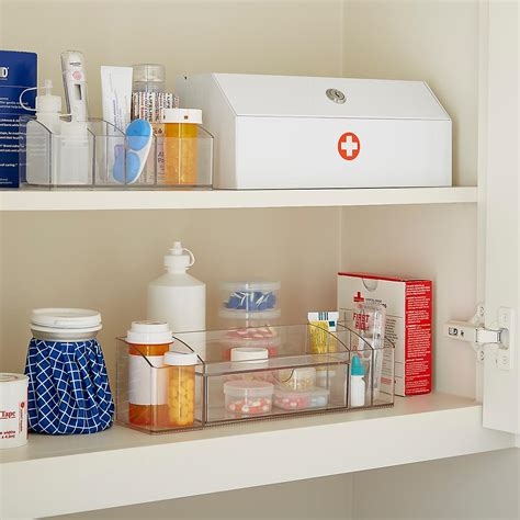 bathroom cupboard organizers prescription security cabinet the container store