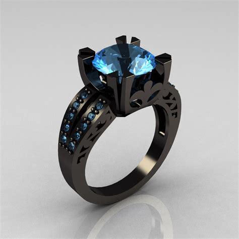 Wedding Rings Black Gold by Modern Vintage 14k Black Gold 3 0 Carat Aquamarine