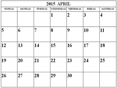 Calendar 2015 Printable April April 2015 Calendar Free Large Images
