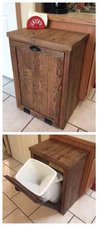 diy pallet trash can cabinet pallet oak trash cabinet 1001 pallets