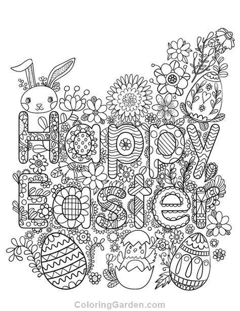 spring coloring pages for adults pdf happy easter adult coloring page