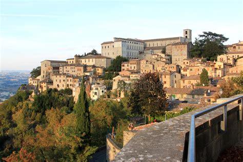 Todi Top view at hilltop town todi umbria italy stock image