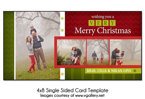 Christmas Card Template Block Christmas 4x8 Single Sided 4x8 Card Templates