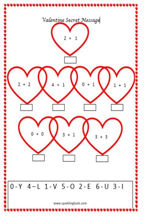 printable preschool valentine activities valentine s day math activity secret message sparklingbuds