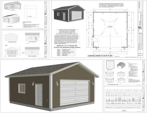 garge plans g553 24 x 25 x 10 garage plans sds plans