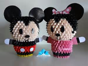 Mickey Mouse Origami - orgami 3d mickey and minnie samurai de papel