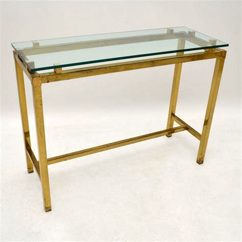 retro brass glass console table vintage 1970 s