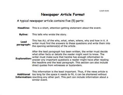 Newspaper Article Analysis Exle by Newspaper Article Template 9 Free Documents In