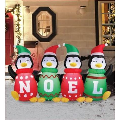 home depot inflatable christmas decorations airflowz 6 ft inflatable sweater penguins 56871 the