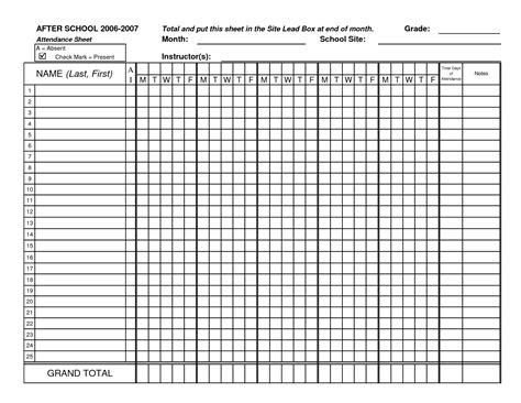 sheet templates classic black and white class attendance sheet template