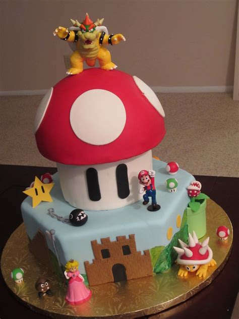 super mario bros cake     year  boys birthday triple chocolate fudge  vanilla