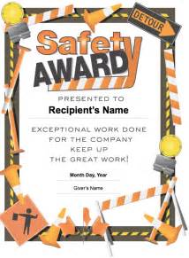 safety award certificate template safety award pages template